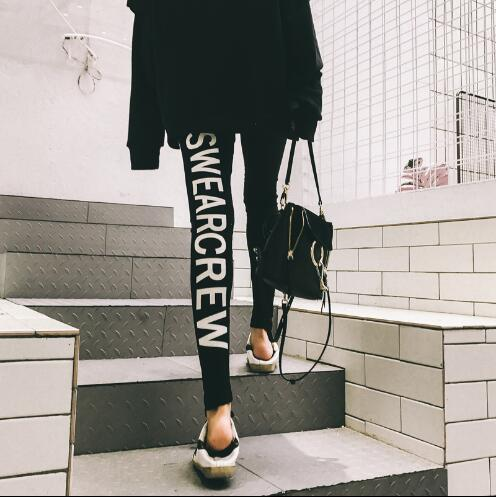 Women's 2018 new letters printed black feet tight spring and autumn wear outer pants