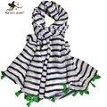 Хан издание просто полосатой шали и шарфы длинные дизайн женщины шифон шарф с зелеными кистями марка мягкого хлопка обертывания bufanda