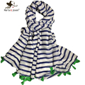 Han edition simple striped shawls and scarves long design women chiffon scarf with green tassels brand soft cotton wraps bufanda