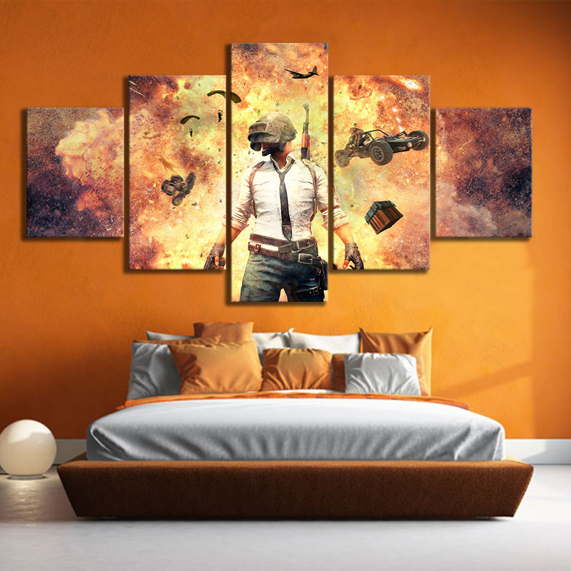 US $13.44 16% OFF|Pubg Playerunknowns Battlegrounds Explosion Video Game  Poster Artwork Drawing Art Canvas Painting for Bedroom Wall Decor-in  Painting ...