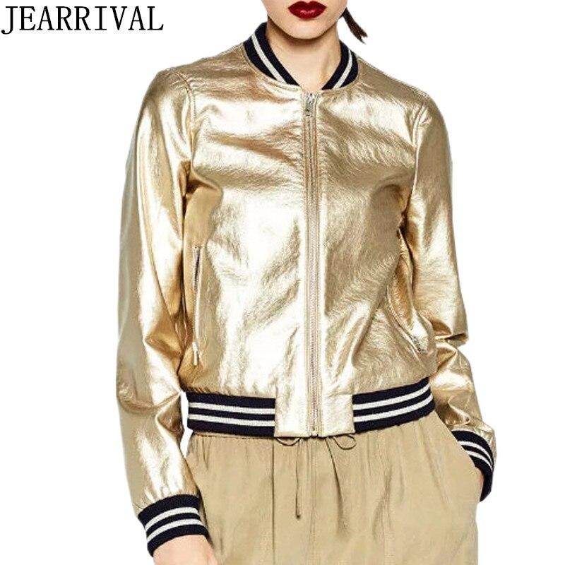 € 23.17 32% de réduction|2018 nouveau mode doré argent brillant Bomber veste femmes Style Punk PU Faux cuir Zipper basique manteau Outwear Chaqueta