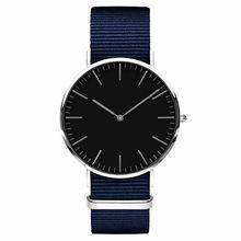 Fashion Blue Nylon Men's Watches Casual Simple Style Man Watch Ultra-thin 40mm Dial No Logo Brand Men Quartz Clock Drop Shiping недорго, оригинальная цена