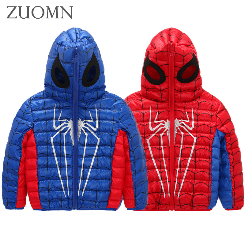 Down Jacket For Girls Boys Hooded Winter Children Jackets Kids Spiderman Down Coat Children Outerwear Boy Girl Jacket Y781 2017 winter down jackets for boys