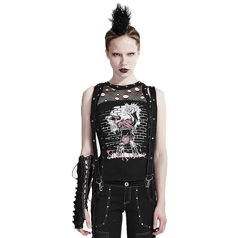 Women Punk Rock Clothing Sleeveless Tank Vest Tops Summer T shirt Woman Cheaper Top 2017 China Clothes Black Color Одежда