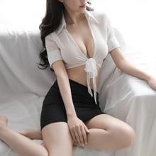 Sexy lingerie Erotic secretary uniform cosplay sex skirt suit ropa sexy porno bdsm bondage erotic stockings nurse