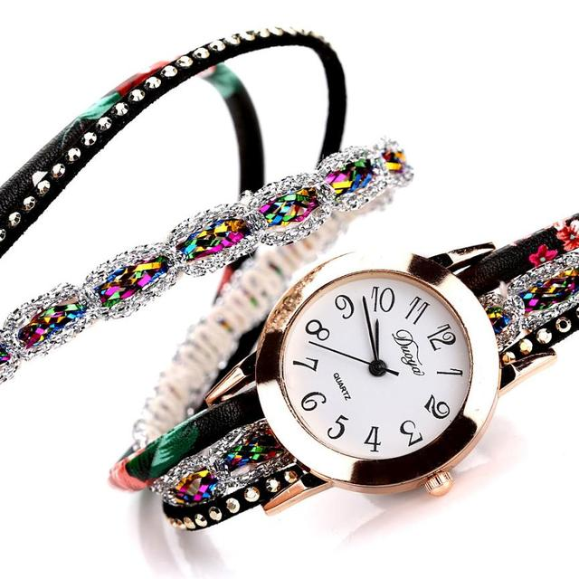 2018 Top Brand Luxury Watches Women Flower Popular Quartz Diamond Leather Bracelet Watch Female Ladies Gemstone Dress Wristwatch