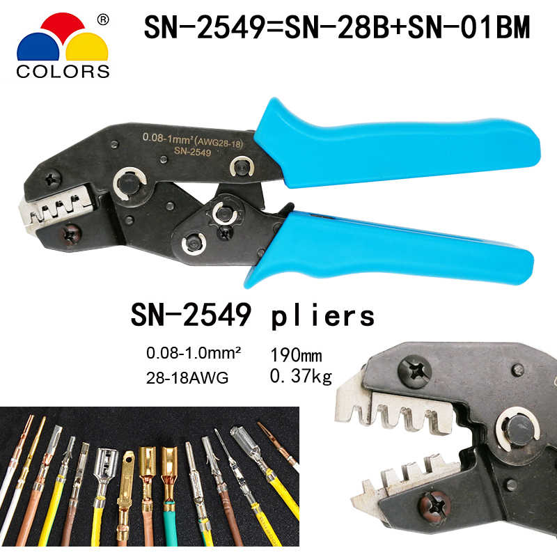 Couleurs SN-2549 outils de sertissage pour AWG28-18 (0.08-1.0 mm2) XH2.54/Dupont 2.54/2.8/3.0/3.96/4.8/KF2510/JST pince à sertir