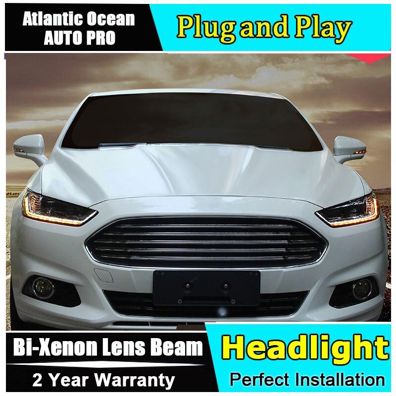 Новый глава лампа Тюнинг автомобилей для Ford Mondeo сборки фары 2013-2016 для Ford Fusion Биксеноновая Двухместный объектива HID комплект светодиодных drl