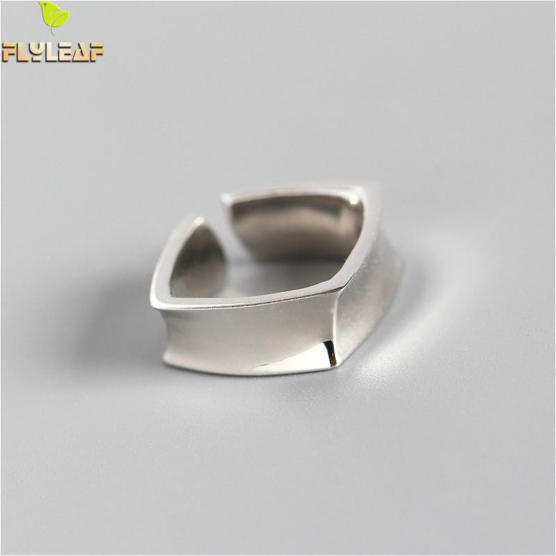 Flyleaf 925 Sterling Silver Rings For Male Women Geometric Square Smooth Femme Fashion Fine Jewelry Simple Open Ring Ins Style
