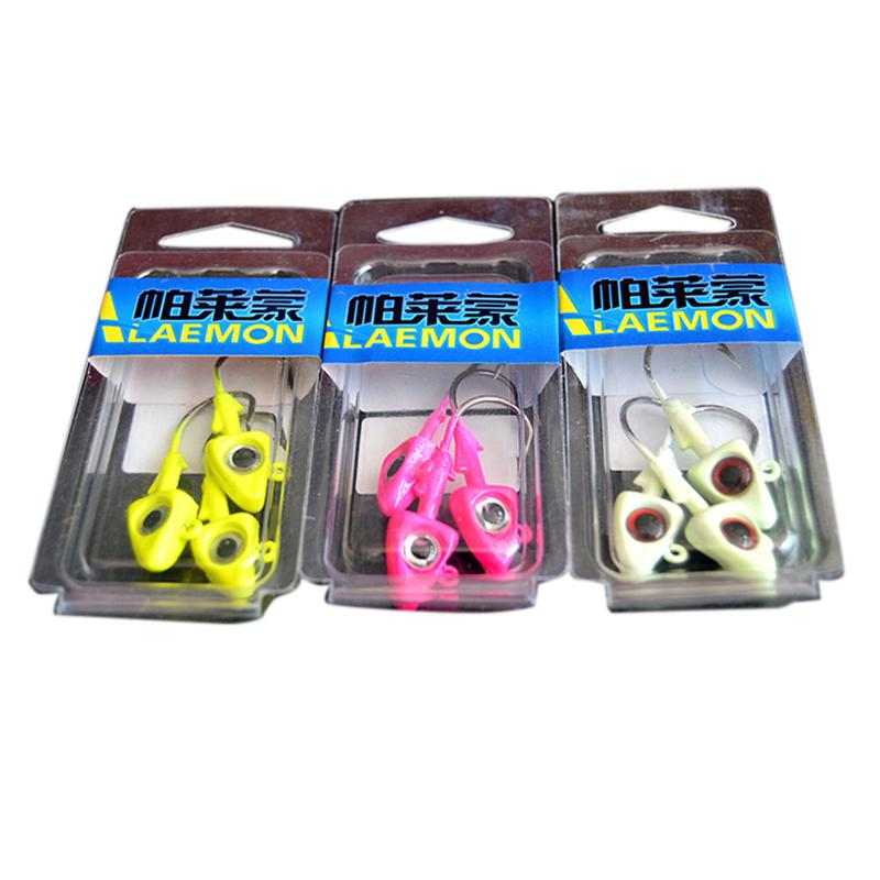3 PcsPack Fishing Jig Head with 20 Hook Lures Fish Shape Lead Head Hooks Tackle Lure 3 Colors Available