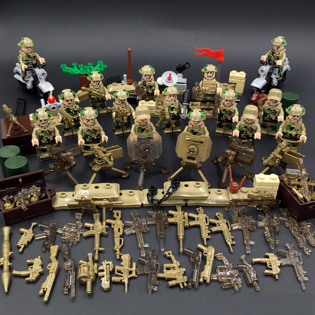 Military Army WW2 Soldier Model Building Blocks Set Weapon