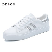 Casual  striped classic cotton women casual lace-up white sneakers