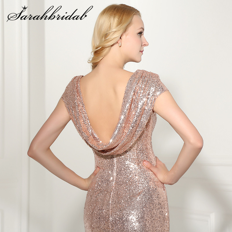 ad5d50fd6e3a6 Sexy Backless Rose Gold Sequined Evening Dresses 2017 New Arrival Mermaid  Long Cheap Party Gown Vestido De Festa Longo SD347