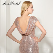 Backless Rose Gold Sequined Evening Dress