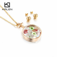 2017 Kalen Minimalist Flower Perfume Bottle Charms Alloy Round Gold Earing Wedding Sets Parure Bijoux Femme