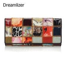 hot deal buy fashion autumn shining genuine leather wallets for women long bracelet clutch purse patchwork design female card holder coin bag