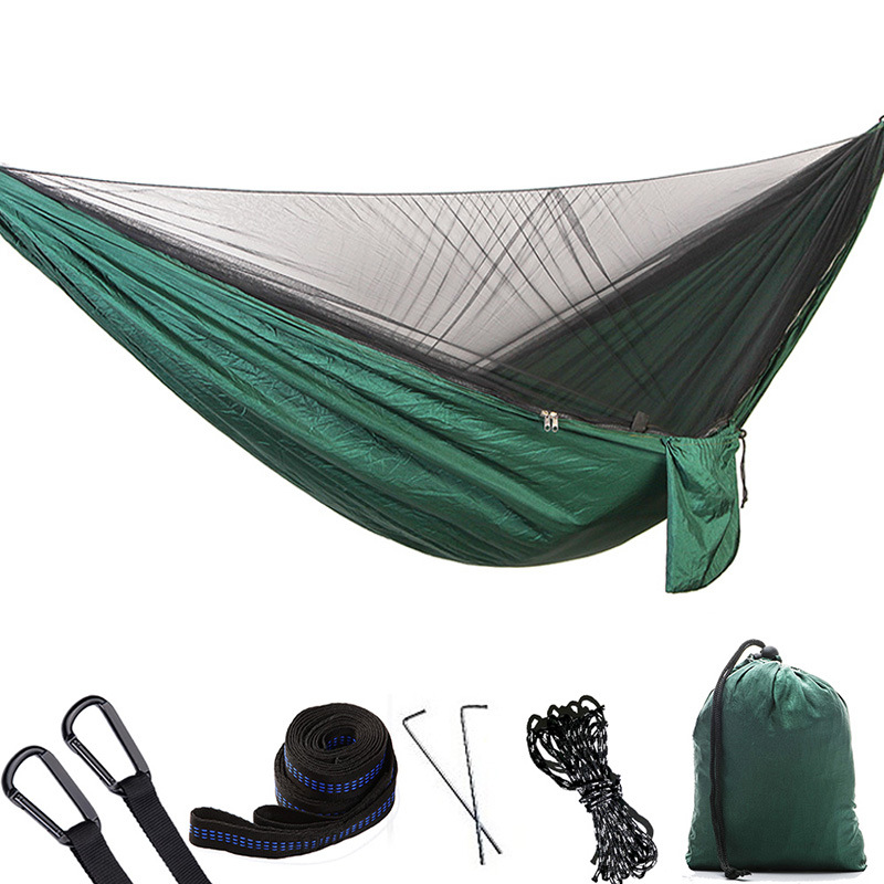Portable Outdoor Camping Hammock with Mosquito Net High Strength Parachute Fabric Hanging Bed Hunting Sleeping SwingPortable Outdoor Camping Hammock with Mosquito Net High Strength Parachute Fabric Hanging Bed Hunting Sleeping Swing