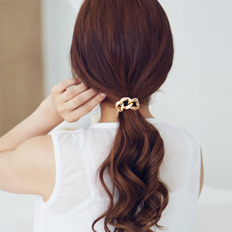 Hot Sale Women Girls Hair Accessories Punk Style Metal Circle Hair Bands Vintage Elastic Rubber Band Ponytail Hair Rope Scrunchy