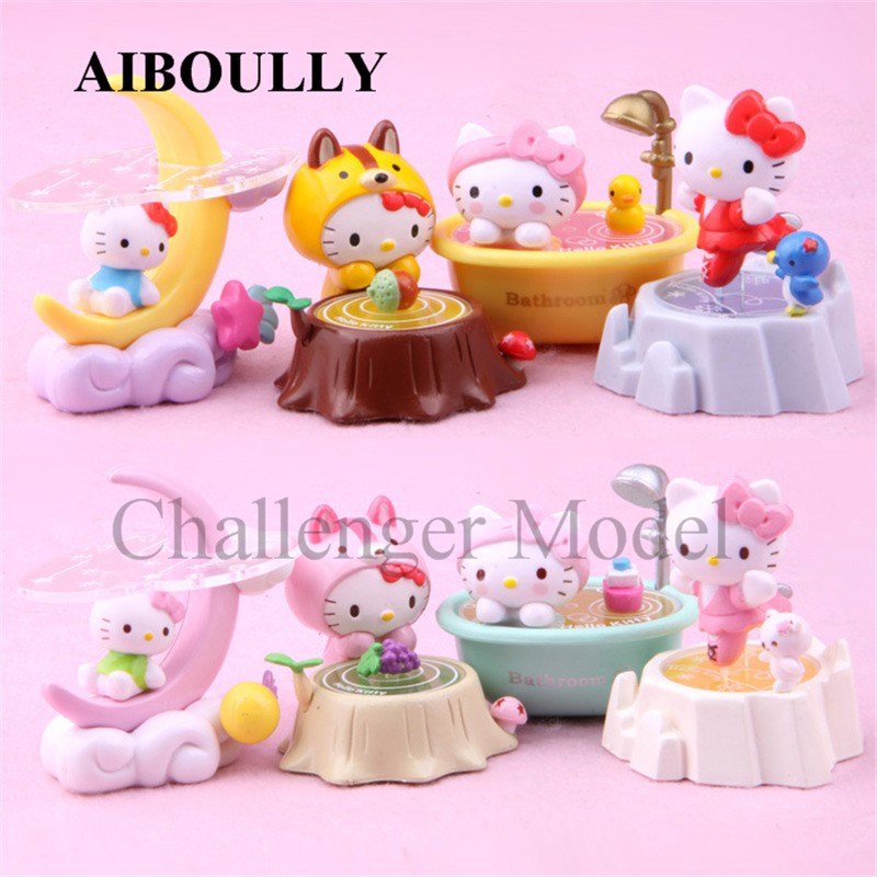 2017 NEW 8 pic/lot Cute cats Moon ship Cap cat PVC Action Figure Model Toys Christmas Gifts Cartoon DIY Doll model Toy Figures