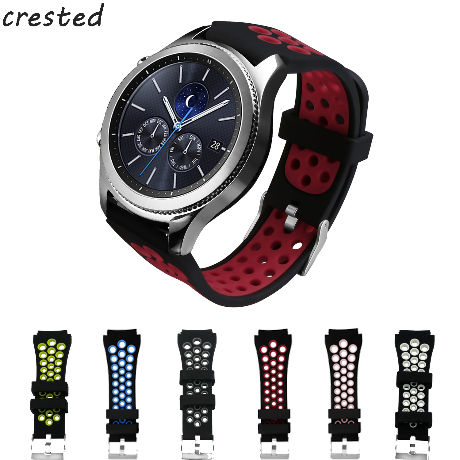 sport silicone strap for samsung gear s3 Frontier/Classic band smart watch bracelet smartwatch wrist belt replacement wristband 2016 silicone rubber watch band for samsung galaxy gear s2 sm r720 replacement smartwatch bands strap bracelet with patterns