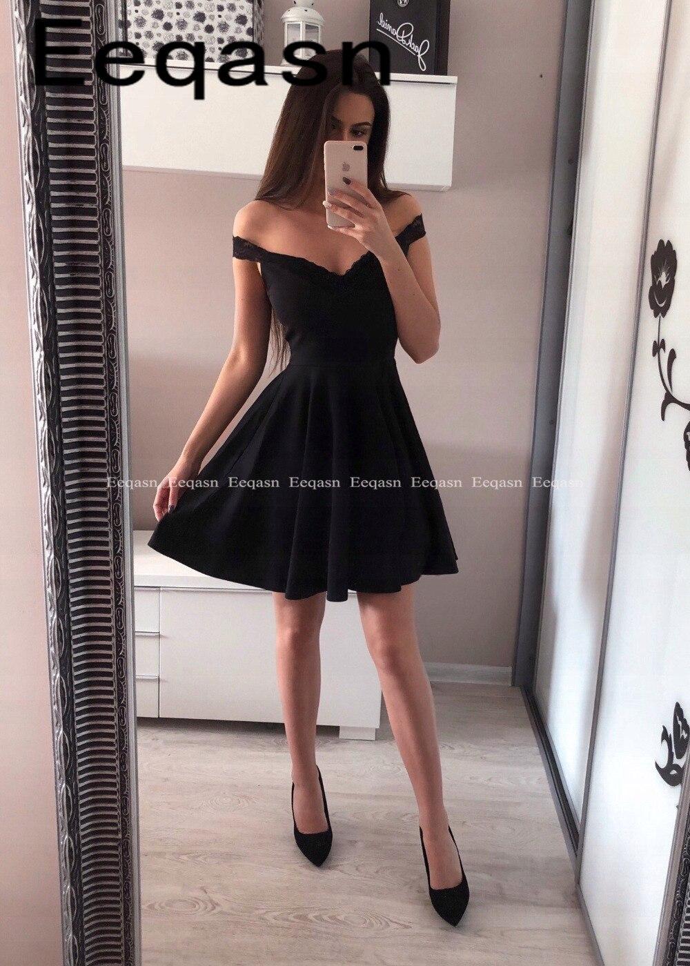 Hot A Line Off The Shoulder Lace V Neck Short Prom Dress Graduation Homecoming Dresses Chic Little Black Dress 2019