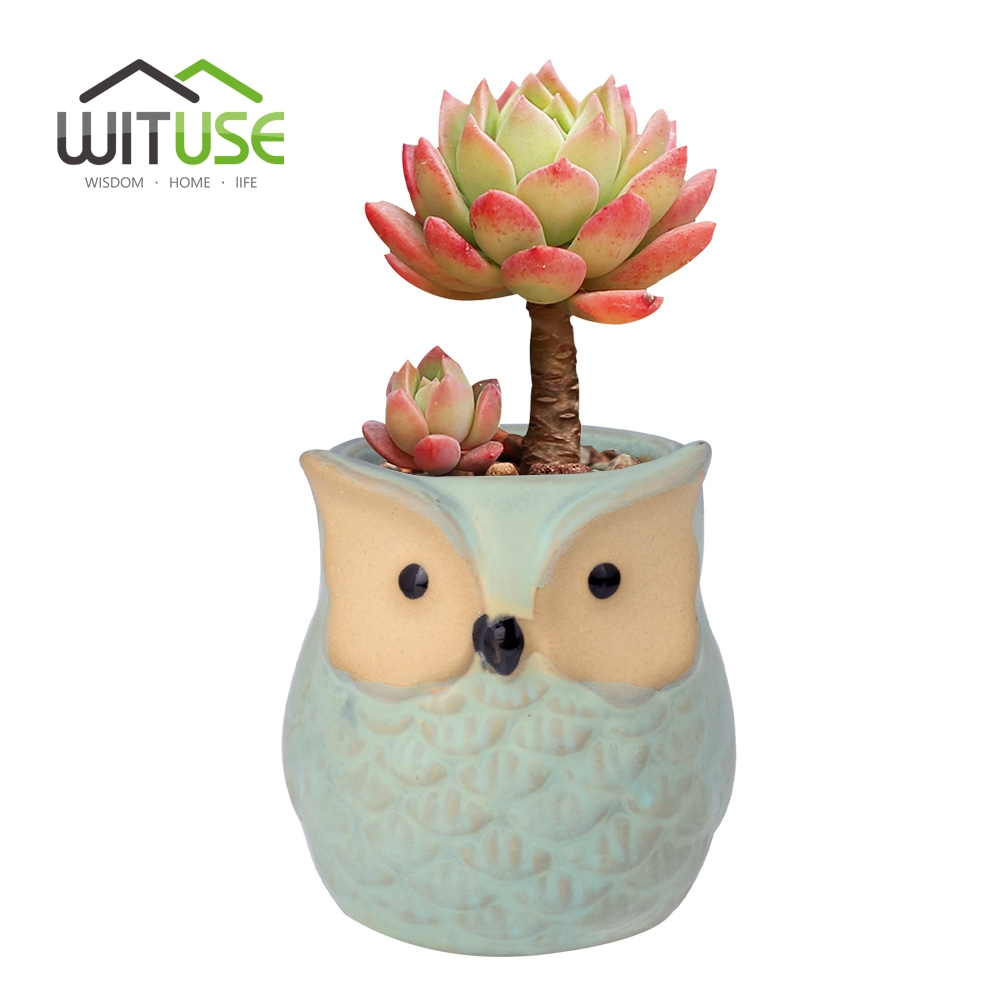 Image 1 - WITUSE Owl flower pot ceramic glazed plants pots decorative Cartoon clay garden pot for balconies small indoor flowers-in Flower Pots & Planters from Home & Garden