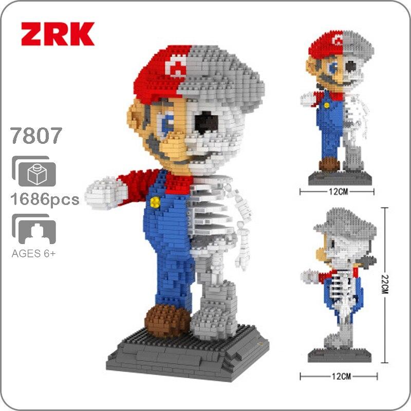 LNO 160 Game Super Mario Red Big Figure DIY Diamond Mini Building Nano Block Toy