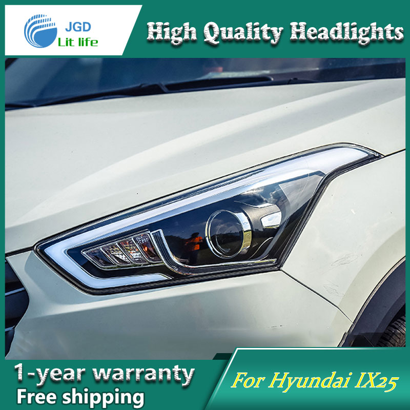 Car Styling Head Lamp case for Hyundai Creta IX25 Headlight 2015 2016 Sentra LED Headlight DRL H7 D2H Hid Option Bi Xenon Beam hireno headlamp for 2015 2017 hyundai ix25 crete headlight headlight assembly led drl angel lens double beam hid xenon 2pcs