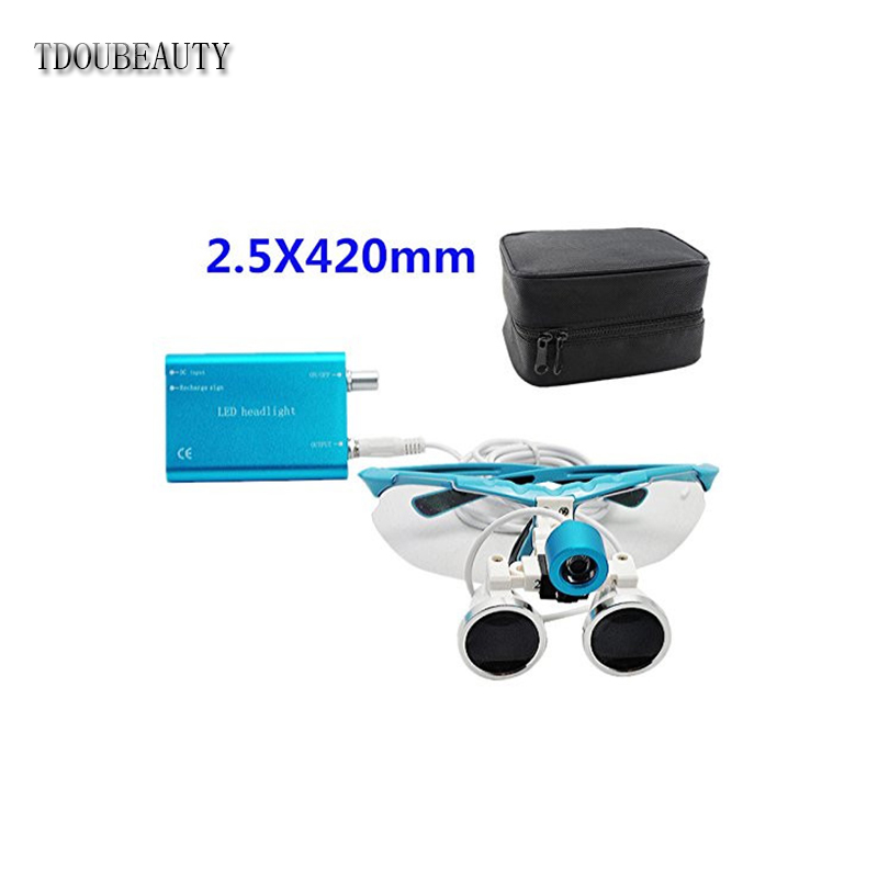 TDOUBEAUTY 2.5X 420mm Blue Dental Surgical Medical Binocular Loupes + LED Head Light Lamp +Carry Bag Free Shipping tdoubeauty 3 5x 420mm dental surgical medical binocular loupes color random led head light lamp free shipping