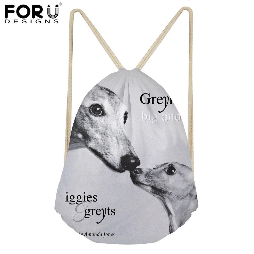 FORUDESIGNS 3D Animal Dog Dark Grey Italian Greyhound Print School Girls Drawstring Bag Small Women's Bags FOR Softback Backpack