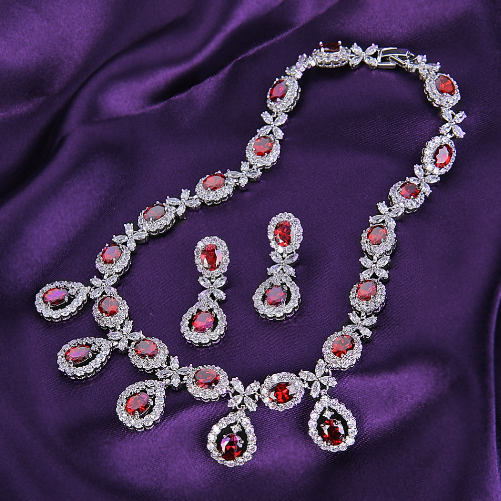 цена на Bella Fashion Gorgeous Teardrop Bridal Necklace Earrings Sets Oval Cubic Zircon Wedding Jewelry Sets For Party Jewelry Gift