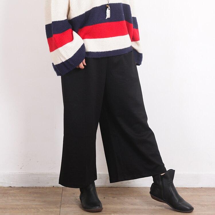 La Black Élastique Femmes Épaissir Chaud Pantalon Taille Jambe Casual Vintage Plus Hiver Noir Lâche Large bvY76fgy