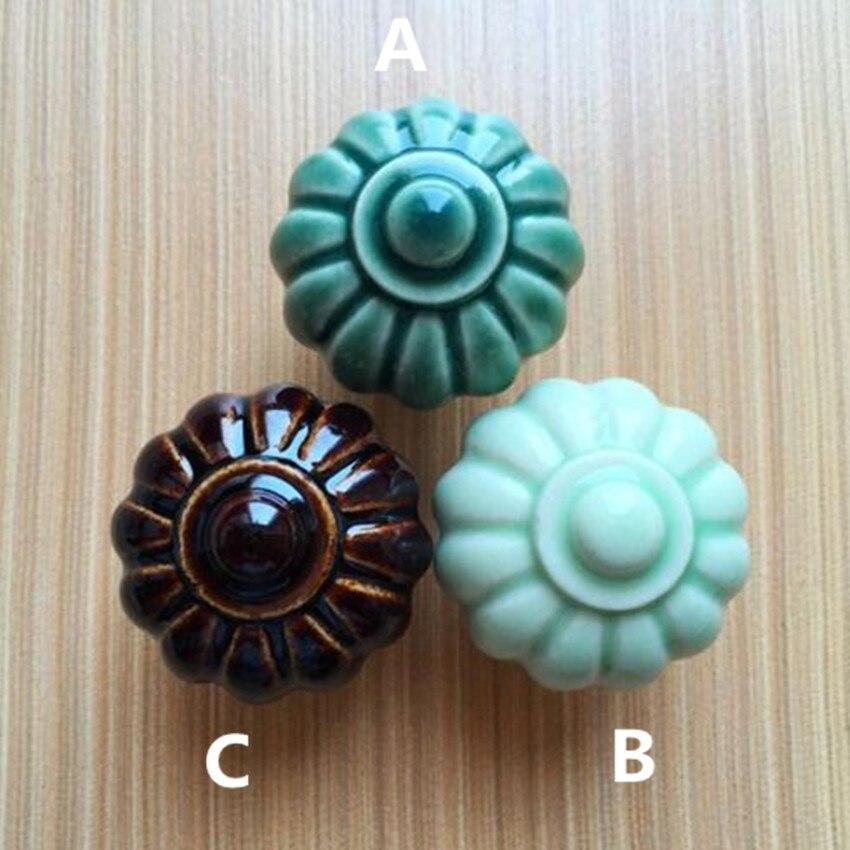Rustico rural ceramic knobs light green pumpkin ceramic drawer cabinet knobs pulls brown dark green ceramic dresser doorhandles салатник rustico малый 1179930