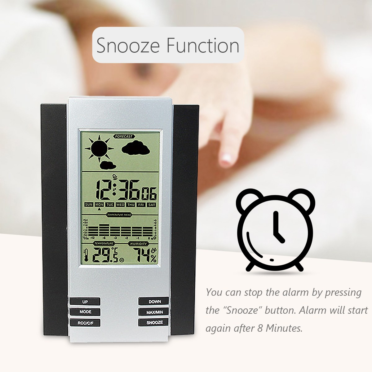 LCD Digital Alarm Clock Screen Weather Forecast Station Temperature Humidity Backlight Monitor Snooze Function Alarm Clocks