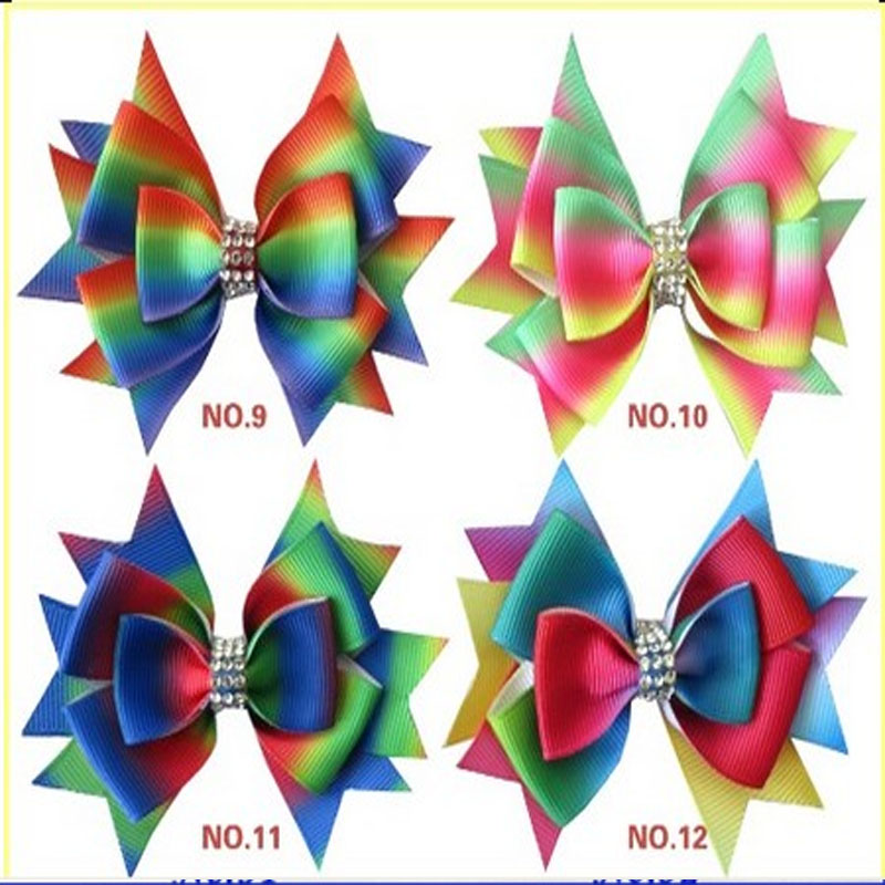 """14 BLESSING Good Girl Boutique 3.5/"""" New Rainbow ABC Hair Bows Clip Accessories"""