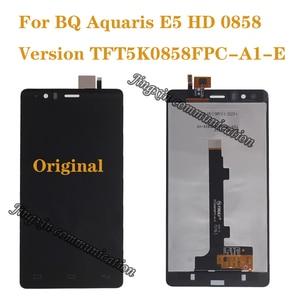Image 1 - 100% חדש לגמרי מקורי עבור BQ Aquaris E5 0858 LCD תצוגה + מגע מסך דיגיטלי ממיר החלפת E5 HD חלקי תיקון