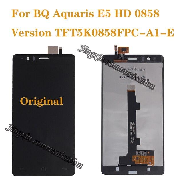 100% חדש לגמרי מקורי עבור BQ Aquaris E5 0858 LCD תצוגה + מגע מסך דיגיטלי ממיר החלפת E5 HD חלקי תיקון
