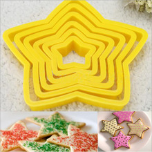 3D Christmas Cookie Cutter Five-pointed Star Baking Fondant Cookie Cake Mold Sugarcraft Biscuit Decorating Tools DIY Baking Tool