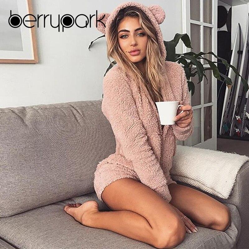 BerryPark 2019 Mulheres Outono Inverno Quente Coral Fleece Veludo Kawaii Urso Bonito Com Capuz Playsuit Macacão Roupa Em Casa o Transporte Da Gota