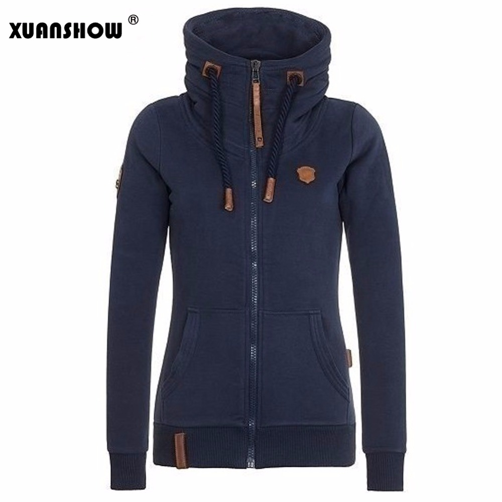 Xuanshow moda das mulheres fleeces hoodies senhoras sweatshirts casual treino sólido manga longa zip up roupas plus size S-5XL