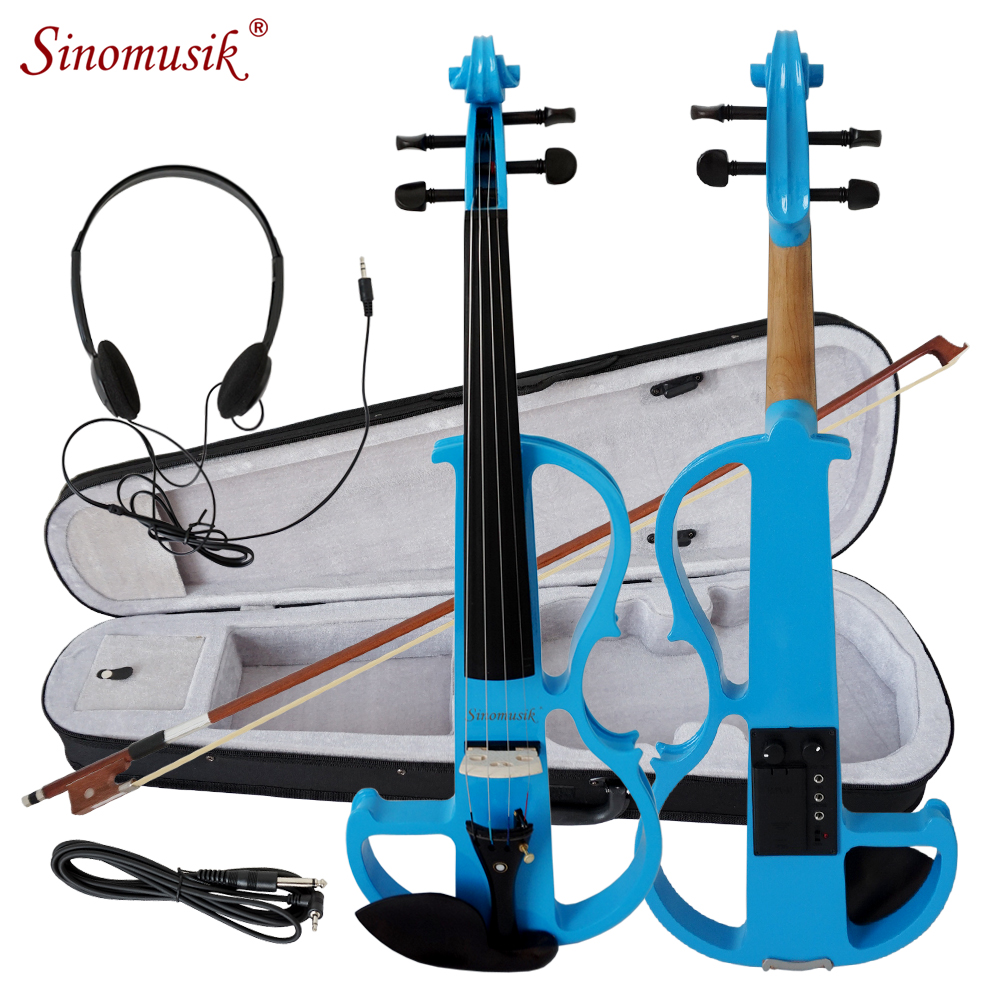 SINOMUSIK BRAND COLOR SOLID BODY ELECTRIC VIOLIN WITH EBONY FITTINGS image