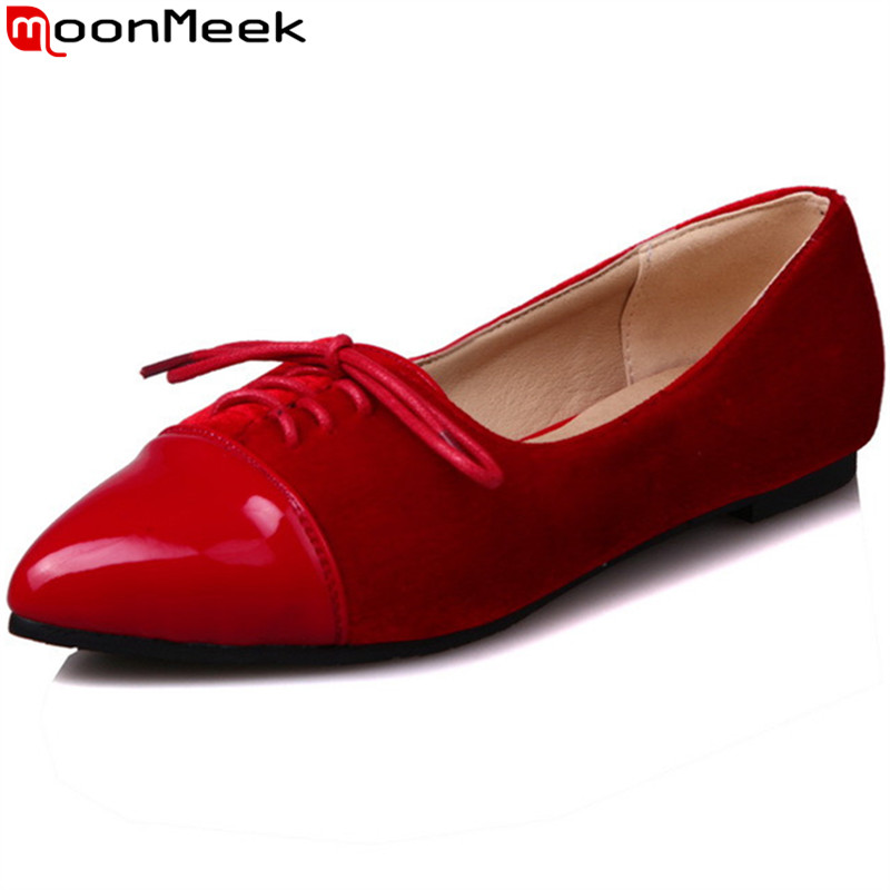 MoonMeek 2017 spring autumn new arrive women flats pointed toe solid color woman shoes simple comfortable big size 34-43 new brand spring pointed toe ladies shoes fashion snake style women flats casual leather shoes woman big size 34 43