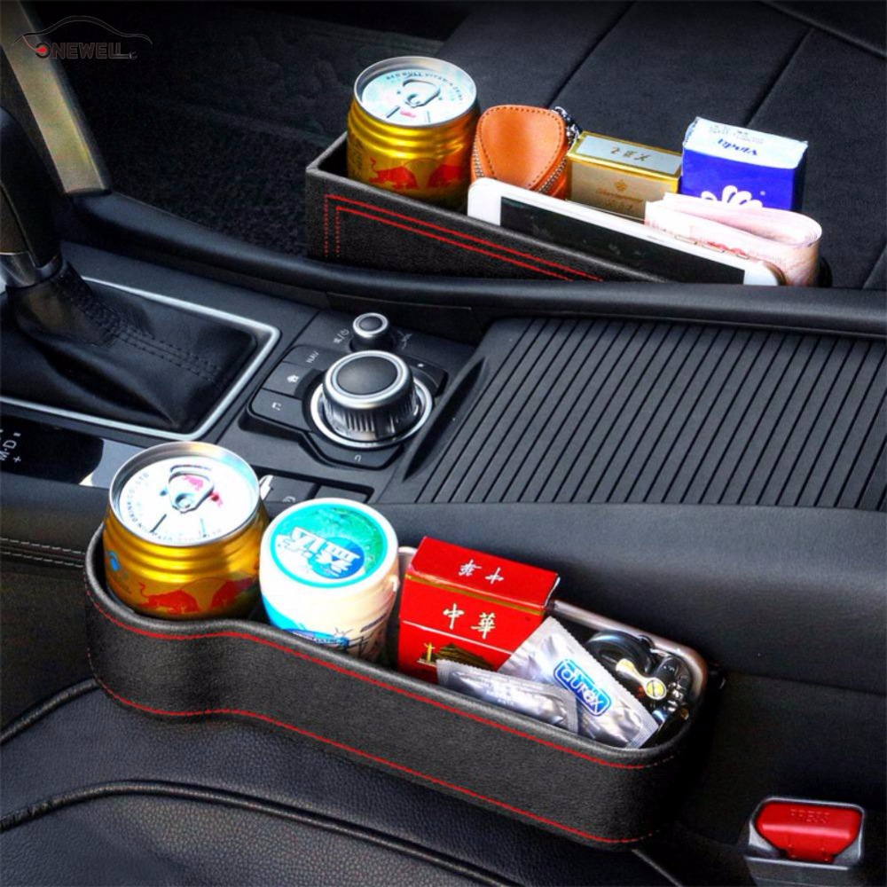 1pcs Pu Case Pocket Car Seat Side Slit Storage Box Seat Gap for Wallet Phone Coins Cigarette Keys Cards Cups