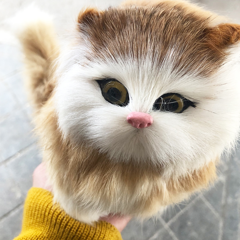 Real Hair Electronic Pets Cats Dolls Simulation Animal Cat Meowth Children's Cute Pet Plush Ornaments Christmas Toys