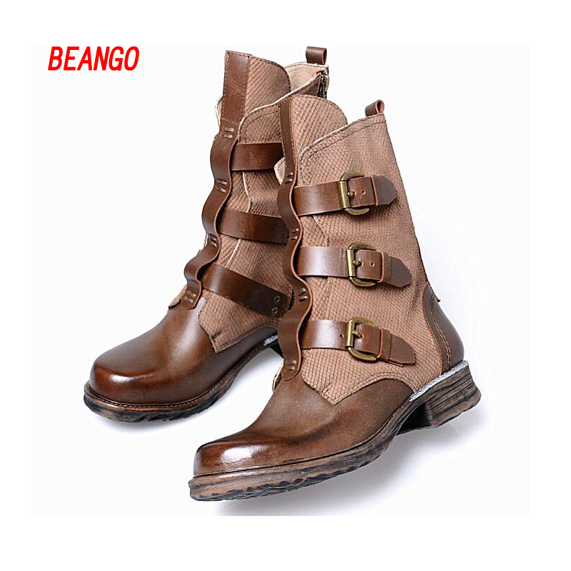 BEANGO Martin Cowboy Boots Mid Calf Genuine Leather Vintage Buckle Strap Shoes Women Boots Women Winter Snow Boots  2017 New mabaiwan handmade rivets military cowboy boots mid calf genuine leather women motorcycle boots vintage buckle straps shoes woman