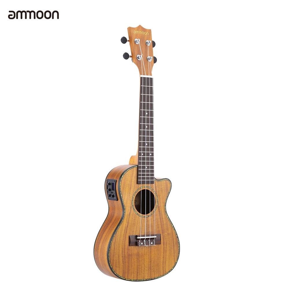 ammoon 24 Cutaway Ukulele Hawaii Guitar with LED EQ Koa Plywood Cowry Shell Brims OX Bone