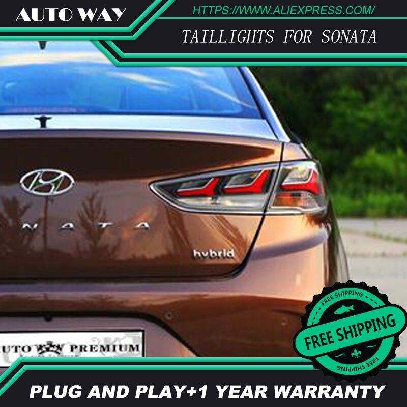 Car Styling tail light for Hyundai Sonata 2018 taillights LED Tail Lamp rear trunk lamp cover drl+signal+brake+reverse недорго, оригинальная цена