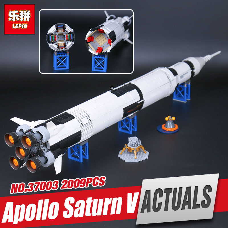 Lepin 37003 Creative Series The Apollo Saturn V Launch Vehicle Set Children Educational Building Blocks Bricks Toy legoing 21309 lepin 37003 creative series apollo saturn launch vehicle set building block bricks toys 1969pcs kids gifts 21309