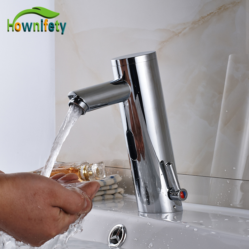 Solid Brass Automatic Hand Touch Bathroom Sink Faucet Countertop Hot & Cold Basin Sense Mixer Tap Chrome Polished цена и фото