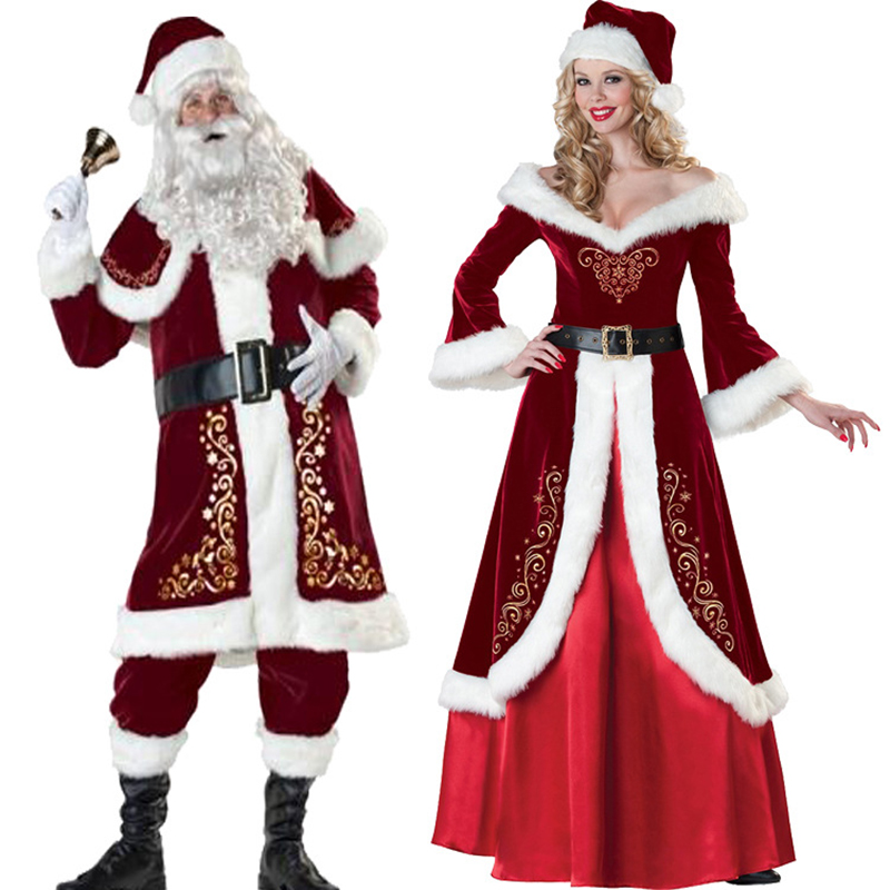 2018 New A Full Set Of Christmas Costumes Santa Claus For Adults Women Red Christmas Clothes Men Santa Claus Costume Halloween L new christmas caps funny red white fashion adult santa claus skullies cotton blend xmas beanies christmas costume unisex caps